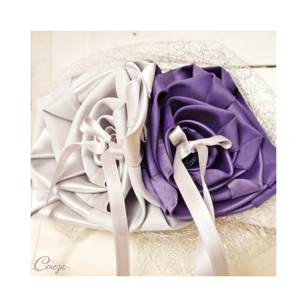 Mariage Violet Et Argent Portealliance Fleur Original Melle - Porte alliance mariage