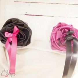 Mariage rose fuchsia noir porte-alliance Duo personnalisé