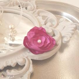 Barrette demoiselle d'honneur fleur rose fuchsia Léa personnalisable