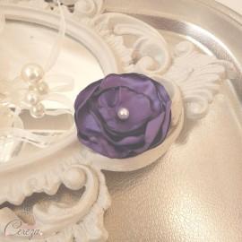 Barrette demoiselle d'honneur fleur violet Léa personnalisable