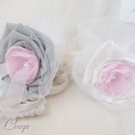 Porte-alliance Duo Inès rose gris blanc strass de cristal