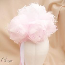 Bouquet de mariée Pivoine rose blanc plumes bijou