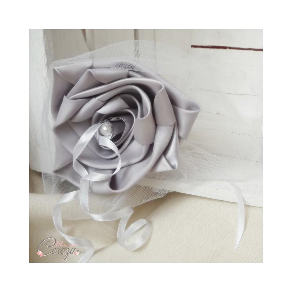 Porte alliances duo floral mariage gris blanc for Porte alliance original