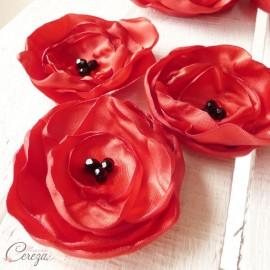 Boutonnière mariage coquelicot rouge noir