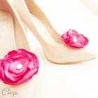 Bijoux de chaussures mariage rose fuchsia fleur et cristal Venezzia