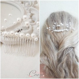 Peigne chignon de mariée perles Madeline