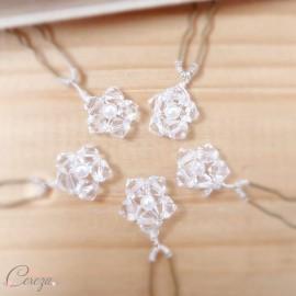 Pics à chignon perles de cristal fleurs géométriques 'Judy'