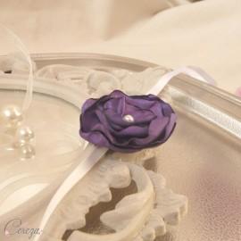 Bracelet fleur violet demoiselle d'honneur personnalisable Adèle