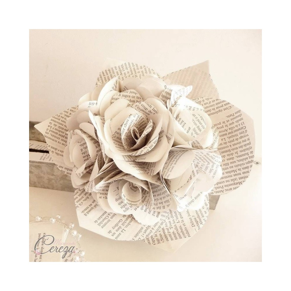Bouquet de mariee original atypique rond roses de papier - Bouquet mariee original ...