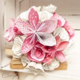 """Bouquet de mariage atypique fleurs de papier tons rose rouge """"Crazy Love"""""""