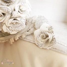 """Boutonnière rose de papier écriture, marié, témoin """"Baudelaire"""""""