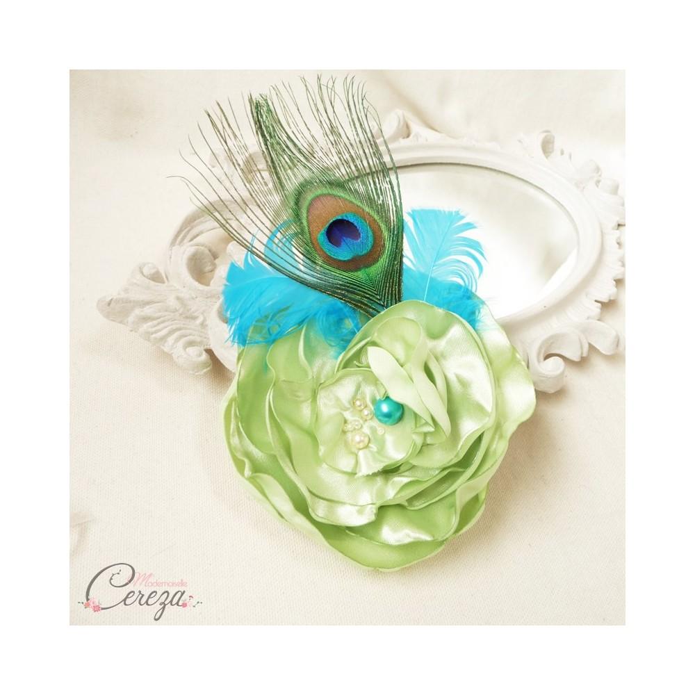 Préférence broche bijou mariage cérémonie paon plumes fleur perles turquoise anis PN35