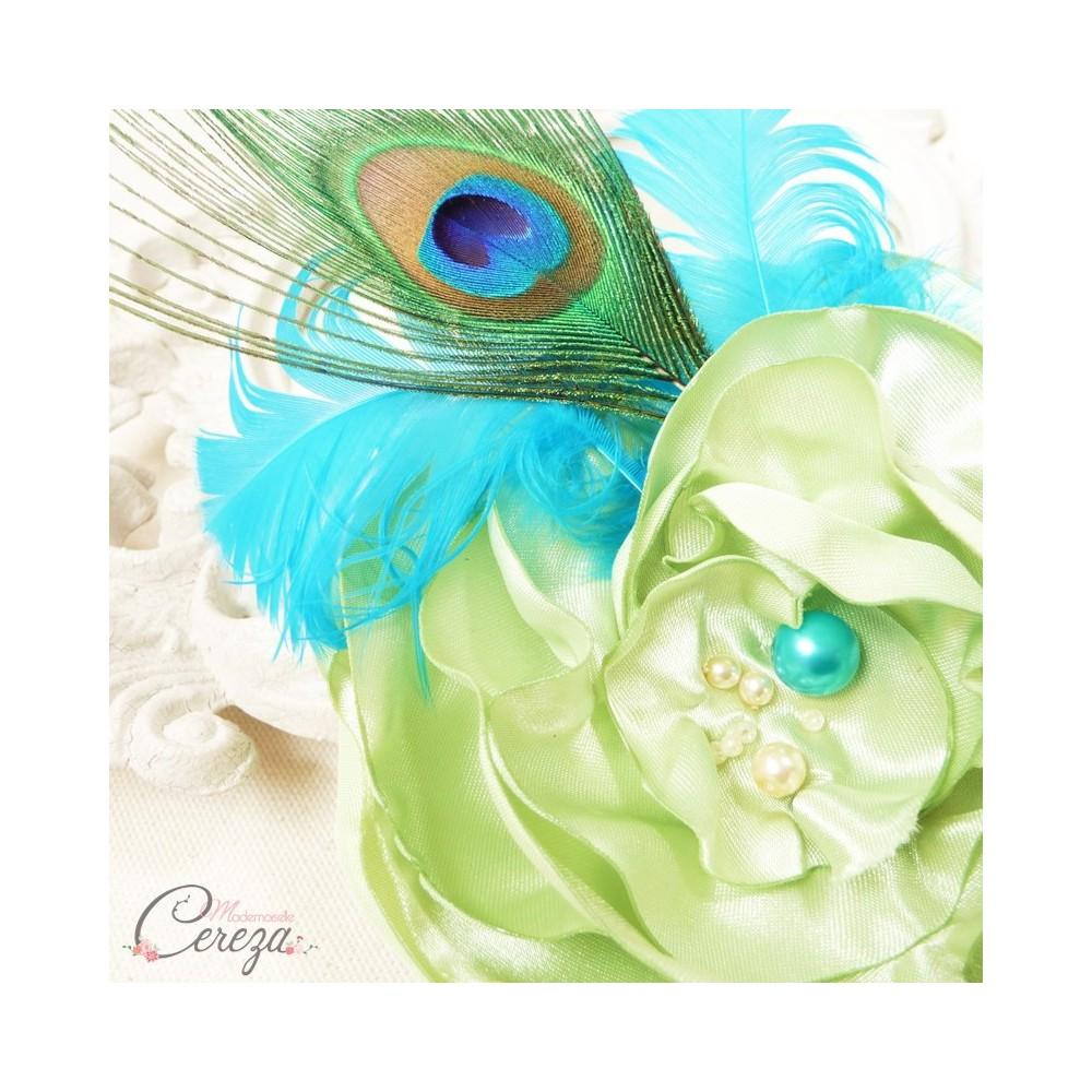 Broche bijou mariage c r monie paon plumes fleur perles turquoise anis - Bleu turquoise et vert anis ...