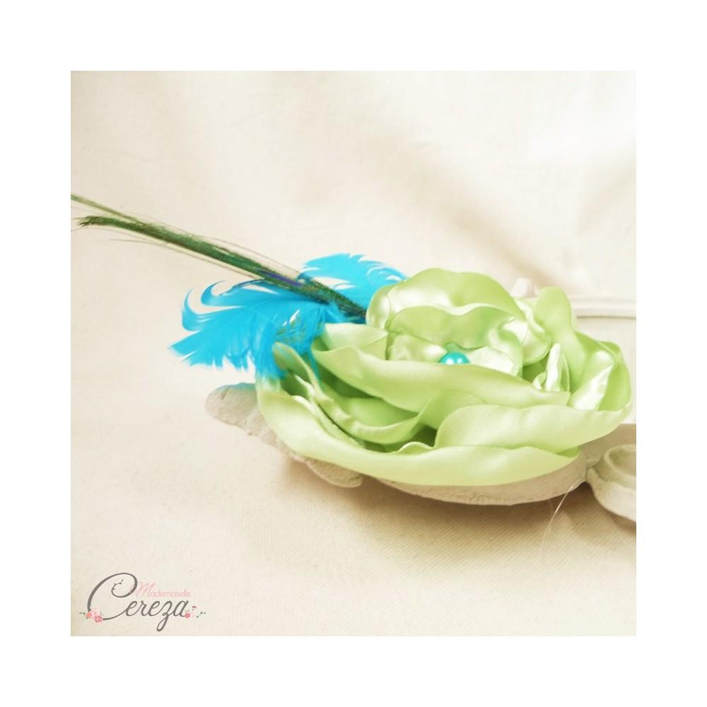 Assez broche bijou mariage cérémonie paon plumes fleur perles turquoise anis XI97