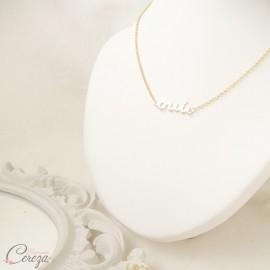 Collier de mariée OUI ras de cou doré