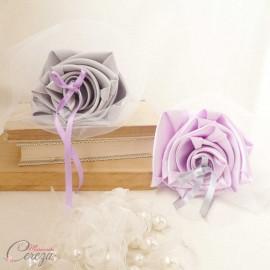 Mariage mauve parme gris blanc porte-alliance Duo floral personnalisé
