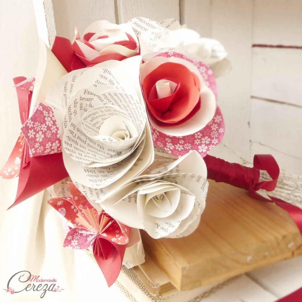 Bouquet mariage original fleurs papier original bordeaux for Bouquet de fleurs zen