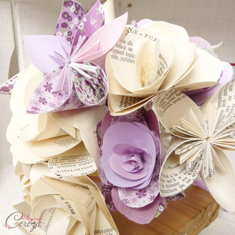 bouquet mariage original fleurs de papier original parme. Black Bedroom Furniture Sets. Home Design Ideas