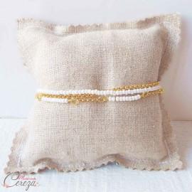 "Bracelet bohème 3 rangs perles blanches doré ""Alice"" - Bijou mariage"