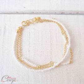 """Bracelet bohème 3 rangs perles blanches doré ou argenté """"Alice"""" - Bijou mariage"""