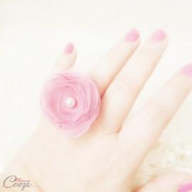 Bague fleur rose organza et perle cadeau témoin personnalisable 'Bergamote'
