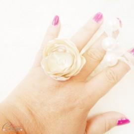 Bague fleur champagne perle cristal cadeau témoin personnalisable 'Bergamote'