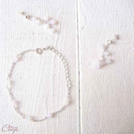"""Boucles d'oreille mariage romantique rose blanc """"Pluie d'été"""" personnalisables"""
