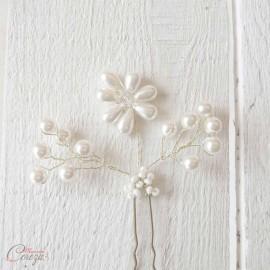 """3 Pics bijoux de coiffure perles mariée romantique chic """"Florine"""""""