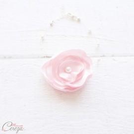 """Bracelet mariée fleur rose pâle perles romantique """"Lila"""" personnalisable"""