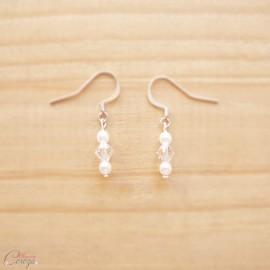 """Boucles d'oreille mariée simples perles et cristal """"Candice"""""""