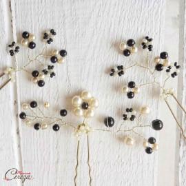 "Bijoux coiffure mariage ivoire noir perles élégants, 3 pics ""Anina"""