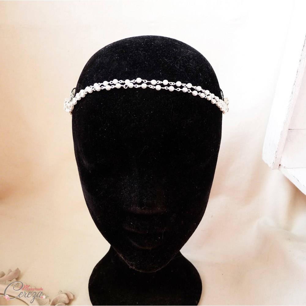 Headband mariage boheme chic perle strass double rang pr cieux - Headband mariage boheme ...