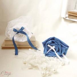 Mariage bleu roi blanc porte-alliances Duo original
