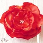 Broche fleur mariage rouge blanc bijou