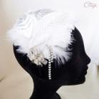 Bijou de tête plumes perles cristaux années 30 et sautoir sur-mesure réservé P.
