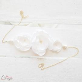 Headband mariage champêtre chic fleuri et perles Inaya