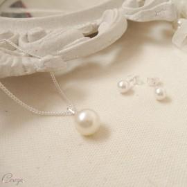 Collier de mariée en argent et pendentif perle nacrée 'Secret' Bijoux mariage