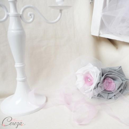 Porte alliances mariage gris rose blanc f rique floral - Porte alliance mariage ...