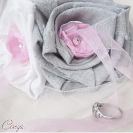 Porte-alliance mariage rose gris blanc féérique Inès