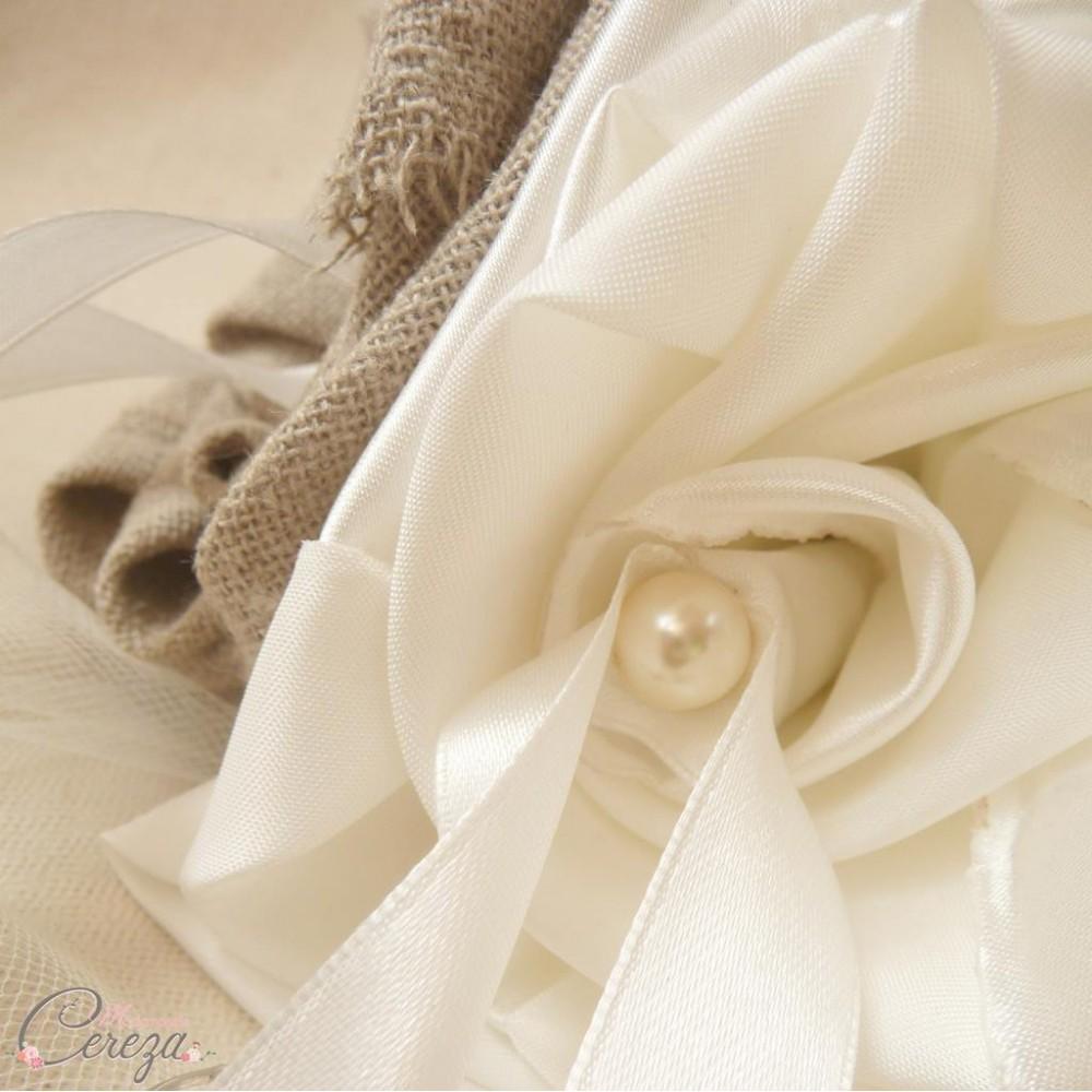 Porte alliances mariage campagne chic fleur de lin coussin original - Mariage campagne chic ...