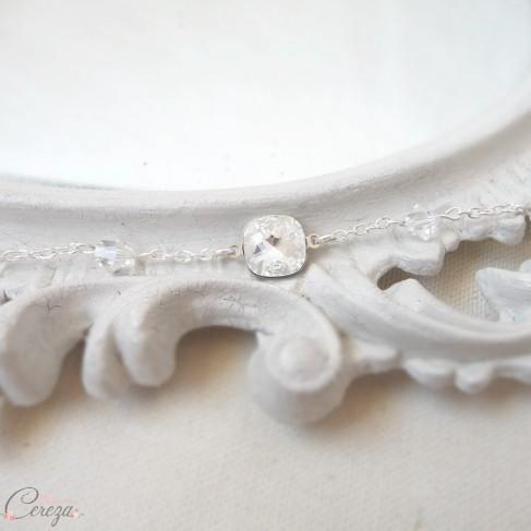 """Bracelet mariée strass cristal et perles personnalisable """"Grace"""""""