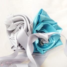 """Mariage turquoise gris argent porte-alliance original fleur """"Simplicité"""""""