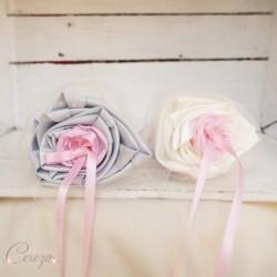 Porte-alliance Duo mariage ivoire rose gris floral Constance