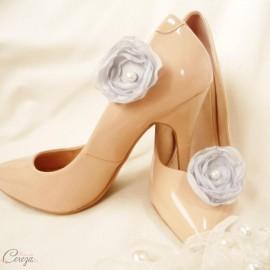 Shoe clips fleur gris perle bijoux de chaussure mariage Laura
