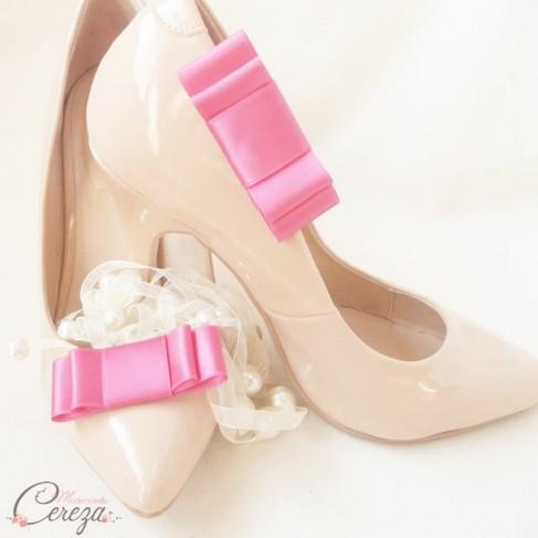 Bijoux de chaussures noeud rose fuchsia Mary