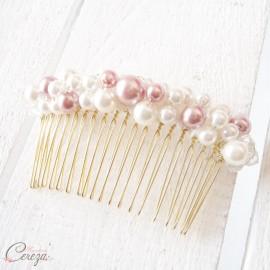 Peigne de mariée 'Kate' perles rose et blanc ou rose et ivoire personnalisable