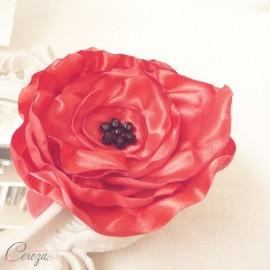 Broche coquelicot bijou fleur mariage rouge noir
