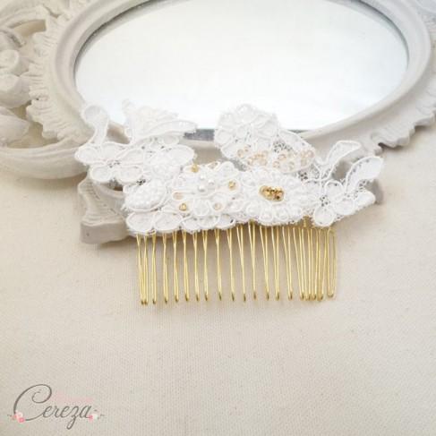 """Bijou de tête mariée rétro dentelle de Calais, perles et cristal """"Paloma"""" personnalisable"""
