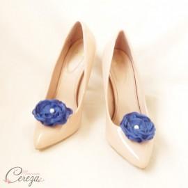 Mariage bleu roi blanc bijoux de chaussures fleur Laura