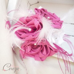 Bouquet mariée bijou plumes rose fuchsia blanc Garance personnalisable